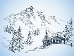 Pencil Sketches Landscape, Art Drawings Sketches Simple, Landscape Drawings, Pencil Art Drawings, Drawing Ideas, Pencil Sketches Of Nature, Simple Landscape Drawing, Mountain Sketch, Mountain Drawing
