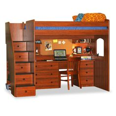 Utica Full Dorm Loft Bed with Stairs | Wayfair