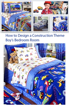 Kids Theme Rooms: Article on how to design a construction theme kids bedroom.
