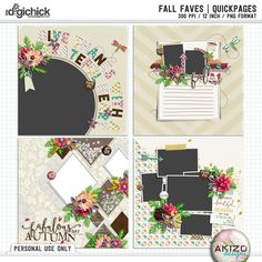 A beautiful digital scrapbooking quickpage set by Akizo Designs. **Special Offer** Purchase Fall Faves | Collection, Receive Quickpages for FREE. This offer is valid through Oct 4.