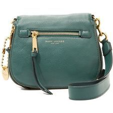NWT Marc Jacobs Iconic Recruit Leather Saddle/Crossbody Bag in Green Jewel