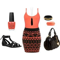 coral and black Clothes Casual Outift for • teens • movies • girls • women •. summer • fall • spring • winter • outfit ideas • dates • parties Polyvore :) Catalina Christiano