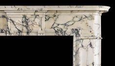 Античный Людовик XVI Pavonazza мраморный камин.