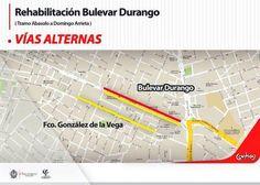 Segunda opción de vías alternas que puedes tomar durante los trabajos de pavimentación del Bulevar Durango