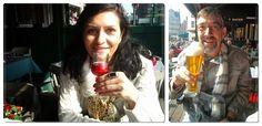 De entrada um licor e uma autêntica cerveja belga...
