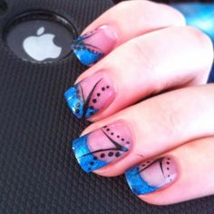 summer nail design for 2014 blue french with black design