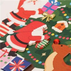 cute Santa Claus Christmas tree glitter letter postcard from Japan 4
