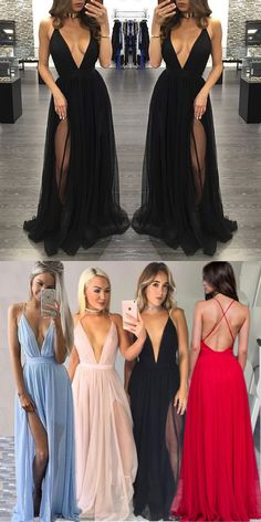 sexy black long prom dress, evening dresses, party dress