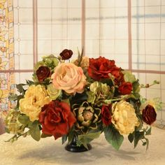 Silk Floral Centerpiece in Red, Cream & Artichokes AR318 - A mix of Hydrangeas and Peonies in metal compote bowl. This lovely silk centerpiece is created with buttery cream peonies, deep red roses, hydrangeas and artichokes. 24 L x 16 H #silkflowers
