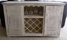 Farmhouse Wine Buffet from Ana White Wine Hutch, Wine Buffet, White Buffet Table, Do It Yourself Furniture, Do It Yourself Home, Ana White, Kitchen Island Storage, Kitchen Islands, Buffet Cabinet