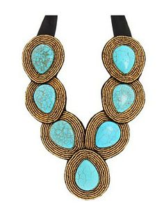maximina - turquoise -  This hand embroidered bib style statement necklace consists of seven large turquoise colored magnesite stones surrounded by gold Japanese seed beads. Enforced with black felt backing. Black ribbon makes this piece adjustable in length. http://www.cayetanolegacy.com