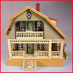 2 Story Gottschalk Red Roof Dollhouse with 2 Rooms, Wrap-Around Porch from curleycreekantiques on Ruby Lane
