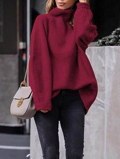 6ecd67c3b3 New Red High Neck Long Sleeve Pullover Sweater