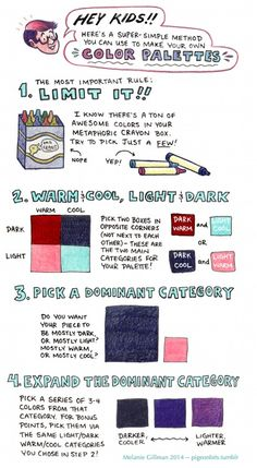 the afterlife, pigeonbits: Color palette tutorial time! Drawing Techniques, Drawing Tips, Drawing Reference, Drawing Tutorials, Art Tutorials, Pose Reference, Drawing Stuff, Painting Tutorials, Art Sketches