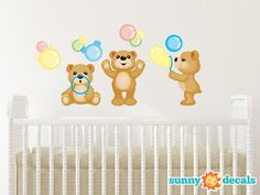 Teddy Bears Fabric Wall Decals, Set of Three Adorable Bears Blowing Bubbles, Repositionable and Reusable by Sunny Decals