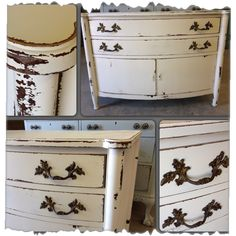 Beautiful french server/side board in a creamy white, chippy distressed with original hardware.   {FOR SALE $350}   40 x 22 x 29h