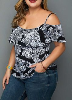 Retro Print Strappy Cold Shoulder Plus Size Blouse Plus Size Blouses, Plus Size Tops, Plus Size Dresses, Plus Size Outfits, Plus Size Girls, Plus Size Women, Curvy Fashion, Plus Size Fashion, Plus Size Kleidung