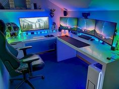 More ideas below: teenage gamer room ideas organization girly games room lights seating decor minimalist ikea Computer Gaming Room, Gaming Room Setup, Desk Setup, Office Setup, Game Room Kids, Ikea Kids Room, Bureau Design, Game Room Lighting, Bedroom Lighting
