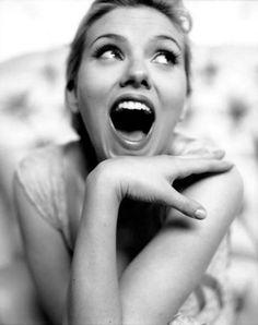 "Scarlett Johansson. Her ""funny portrait"" face is adorable."