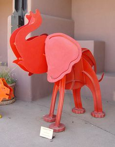 """Baby Red Elephant Walk"" - Powder Coated Steel Sculpture by Fred Prescott Steel Sculpture, Sculpture Art, Elephant Walk, Elephant Figurines, Colorado, Art For Sale, Sculptures, Elephant Sculpture, Table Lamp"