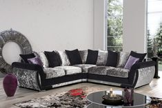 Say hello to the Shannon Glitz sofa range from KC Sofas. Our customers absolutely love this one! Available in pillow back or formal back versions. The Shannon Glitz range is a real head turner, with attractive, luxurious crushed velvet black and silver cushions. A glamorous addition to any modern home. Crushed Velvet Sofa, Silver Cushions, Fabric Sofa, Sofas, Couch, Pillows, Luxury, Modern, Range
