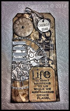 Tim Tag Jan Creative Chaos: 12 Tags of Tim Holtz - January 2014 Atc Cards, Card Tags, Gift Tags, Journal Cards, Tim Holtz, Flowers Illustration, Timmy Time, Steampunk Crafts, Art Trading Cards