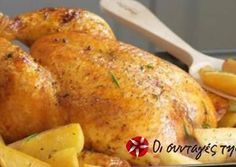Μαριναρισμένο κοτόπουλο στο φούρνο με πατάτες Chicken Recipes, Food And Drink, Healthy Eating, Turkey, Meat, Cooking, Eating Healthy, Kitchen, Healthy Nutrition