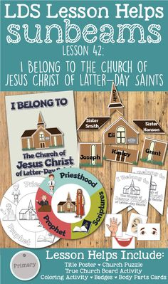"""LDS Primary 1 Sunbeams Lesson 42: """"I Belong to The Church of Jesus Christ of Latter-Day Saints"""" Lesson helps including printables, puzzle, board activity, coloring activity, badges, and more! www.LovePrayTeach.com"""