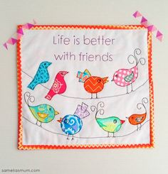 Life is Better with Friends : Mini Quilt TUTORIAL + PATTERN @Samelia's Mum.com