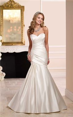 sweetheart strapless trumpet side draped ruched wedding dress with ...