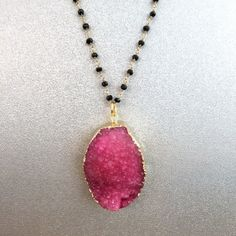 Large Gold-Covered Pink Druzy w/ 30'' Spinel Rosary Chain. Spinel is used to attract money, wealth and prosperity.