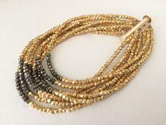 Gold Vermeil Multi Strand Bracelet  Pyrite by JLynJewelryDesigns