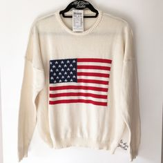 """BNWT cream  Bestey flag sweater 24"""" in length, 100% cotton. Light dust stains on front and under left side armpit Brandy Melville Sweaters Crew & Scoop Necks"""