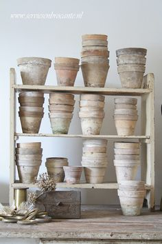 Landscaping With Rocks - How You Can Use Rocks Thoroughly Within Your Landscape Style Pale Clay Pots.I Look For These Kind Of Pots Or The Ones That Are Aged Naturally. Terracota, Greige, Potting Sheds, Potting Benches, Garden Pots, Garden Sheds, Potted Garden, Clay Pots, Container Gardening