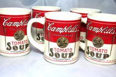Vintage Campbells Tomato Soup Cups 6 Campbells by HuldasTreasures