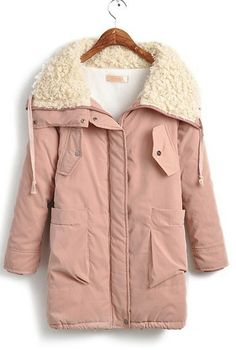 CUUTE Pink Fur Collar Long Sleeve Big Pockets Front Parka - Sheinside.com