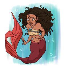 Moana Mermaid by AriellaMay on DeviantArt Mermaid Disney, Mermaid Art, Mermaid Drawings, Mermaid Tattoos, Disney Princess Art, Disney Fan Art, Princess Moana, Black Mermaid, The Little Mermaid