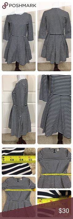 NWT!  GAP Fit and Flare striped dress New with tags!  Fit and Flare navy and white striped dress. Back zipper, pockets and pleated skirt!  Flattering and fun design! GAP Dresses