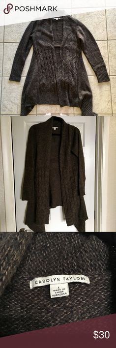 """Carolyn Taylor Brown Cardigan- Size L. Carolyn Taylor Brown Cardigan- Size L. Thick Material. Worn a handful of times. In good condition. Has minimal pilling on the elbows. Has no rips or stains. Measurements: Shoulder to Hem- 32"""", Armpit to Armpit- 24"""" and Sleeve-26"""". Comes from a smoke/ pet free home. Make me a offer or bundle with other items for a extra discount. Carolyn Taylor Sweaters Cardigans"""