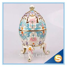 Big Size Egg with Flower and Honeybee Trinket Box Faberge Egg Czech Crystal
