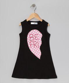 Loving this mini scraps Black & Pink 'Be Fri' Heart Dress - Infant, Toddler & Girls on #zulily! #zulilyfinds