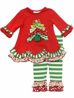 Girls Christmas Outfit - Ruffled Ribbon Christmas Tree Tunic Set 3 month to 6X SIZE