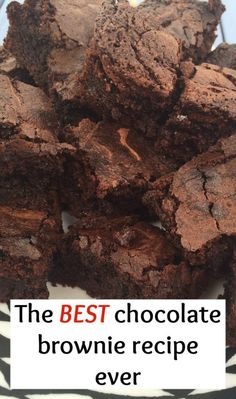 The best chocolate brownie recipe EVER! Best Chocolate Brownie Recipe, Chocolate Brownies, Brownie Recipes, Chocolate Desserts, Brownie Ideas, Chocolate Fondue, Brownies Uk, Bailey Brownies, Uk Recipes