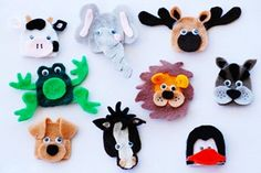 Finger Puppets: Cow, Frog, Dog, Elephant, Horse, Lion, Moose, Penguin