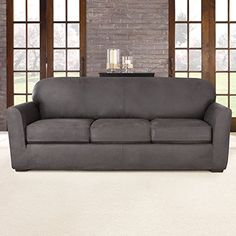 Sure Fit Slipcovers Ultimate Heavyweight Stretch Leather Separate Seat 3 Piece Sofa Slipcover