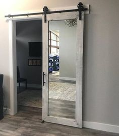 Distressed White – Rustic Mirrored Sliding Barn Door – x – New Ideas – Home Office Design On A Budget Sliding Bathroom Doors, Diy Sliding Barn Door, Wooden Barn Doors, Sliding Door Design, Bathroom Closet, Master Bathroom, Farmhouse Bathroom Mirrors, Rustic Mirrors, Modern Bathroom