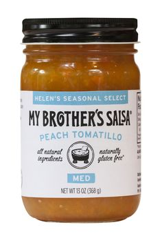 """Peach Tomatillo Salsa. $5.95. Part of our new line, """"Helen's Seasonal Select"""", our Peach Tomatillo Salsa is now available while supplies last! The sweet, fruity peaches combined with tropical mangos, tangy tomatillos, & spicy habaneros create summer's perfect bite of sweet heat. Serve with grilled chicken, fish, shrimp, pork. Get it while you can!"""