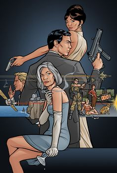 Got it for my mans entertainment room its his fav show.Archer TV Show Poster FX Adult Swim Archer Tv Series, Archer Tv Show, Archer Fx, Archer Funny, Sterling Archer, Watch Cartoons, Adult Cartoons, Ocelot, Artists
