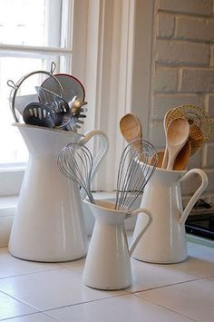 Cute Way To Organize Your Kitchen Utensils. Then If You Need A Pitcher