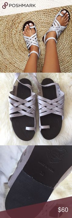 Free People Lilac Leather Sandals •Strappy leather flat sandals in a lilac/grey shade.  •Size EU38, these will fit a 7.5/8.  •New in box  •NO TRADES/HOLDS/PAYPAL/MERC/VINTED/NONSENSE. Free People Shoes Sandals